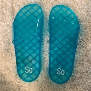 SO Teal Jelly Slides
